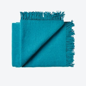 Athen Wool Throw in Petrol-Green