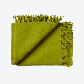 Athen Wool Throw in Dark Lime