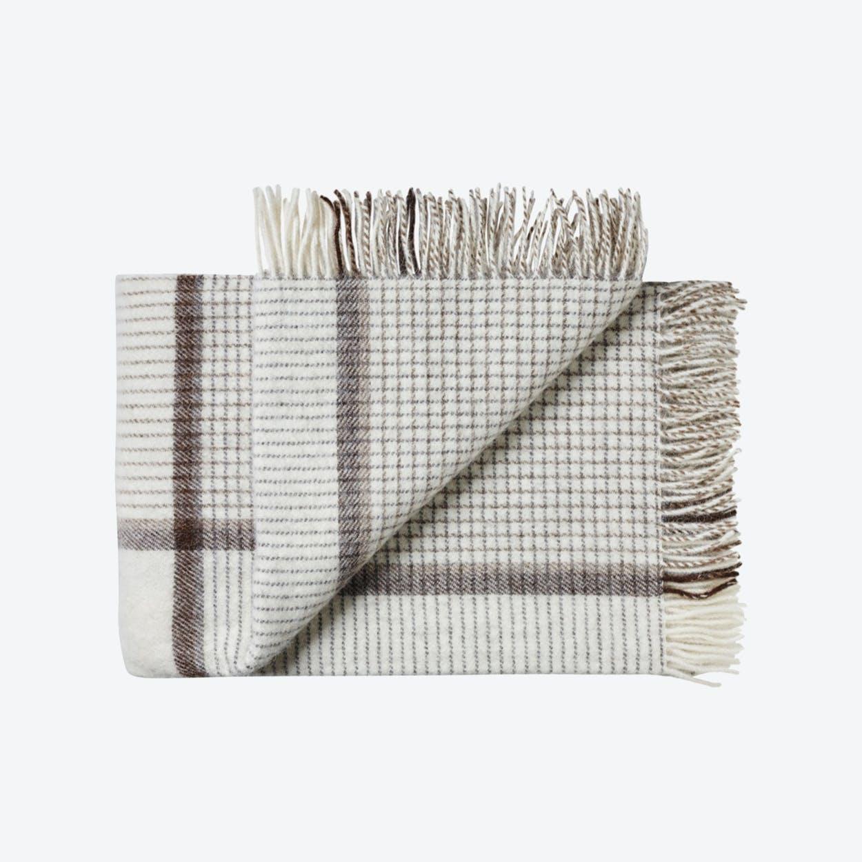 Oxford Alpaca/Wool Throw in White-Camel Blocks