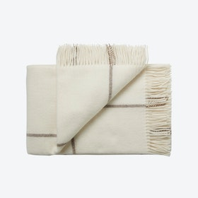 Oxford Alpaca/Wool Throw in White & Camel Stripes