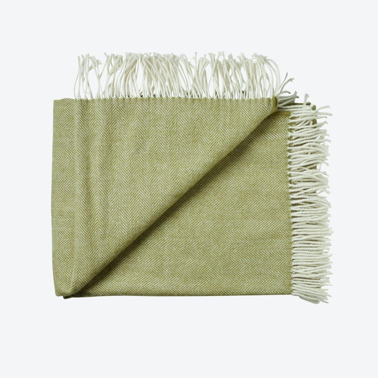 Sevilia Alpaca/Wool Throw in Green, Herringbone
