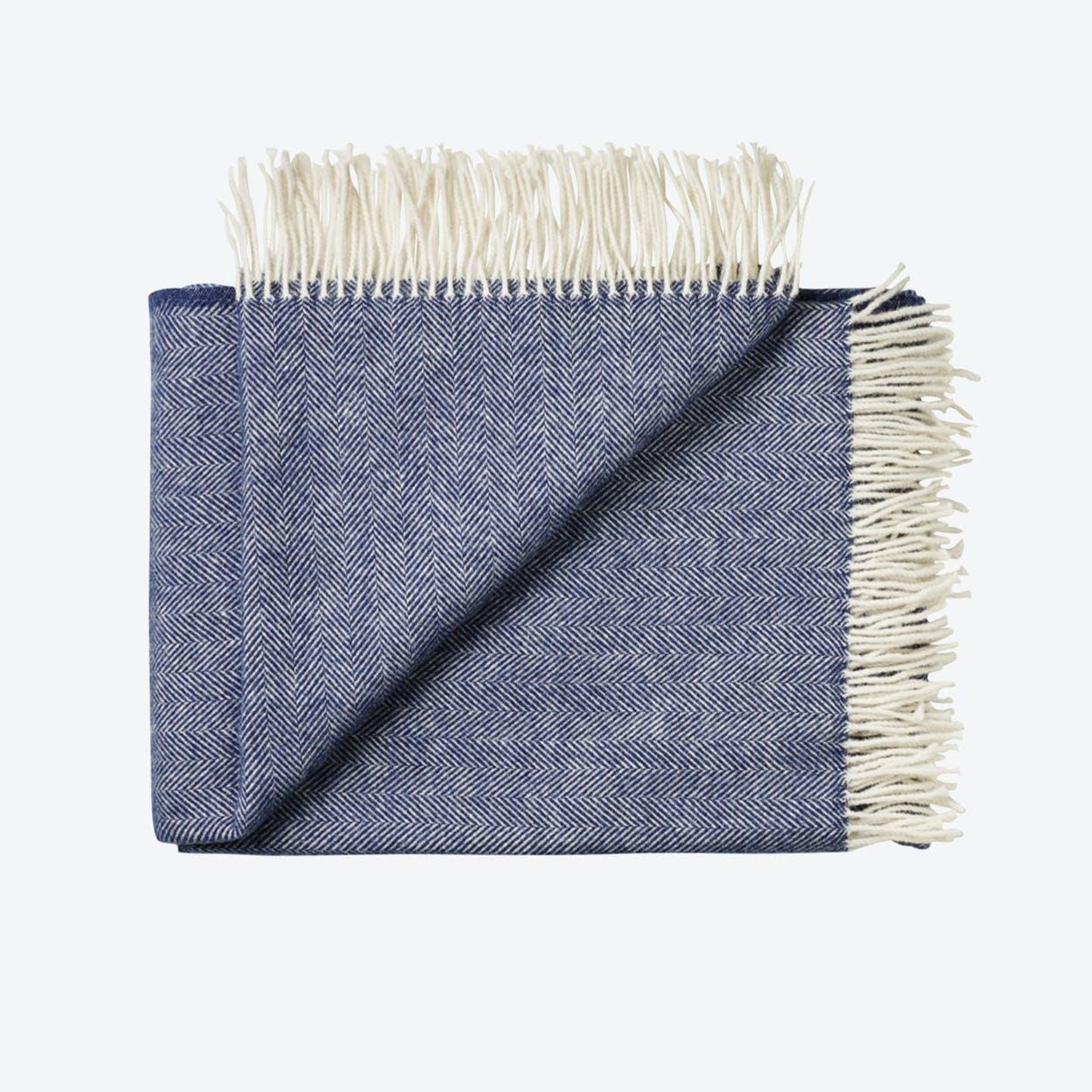 Sevilia Alpaca/Wool Throw in Navy-Blue, Herringbone