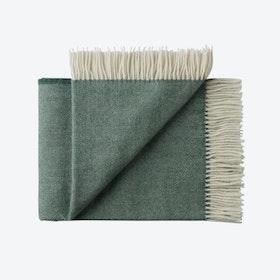 Sevilia Alpaca/Wool Throw in Dark-Green, Herringbone
