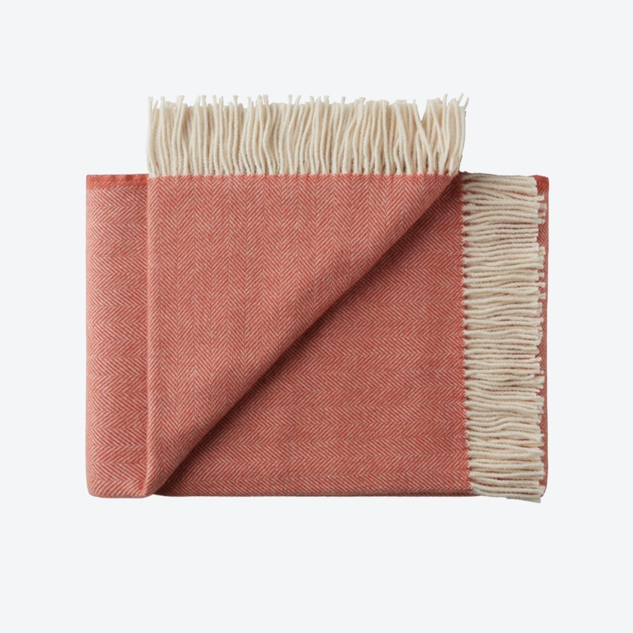 Sevilia Alpaca/Wool Throw in Red, Herringbone