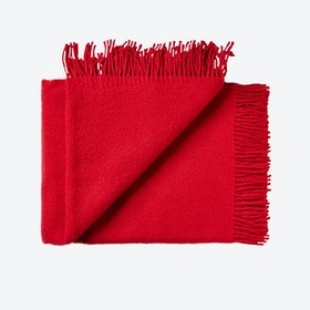 Athen Wool Throw in Dark Red