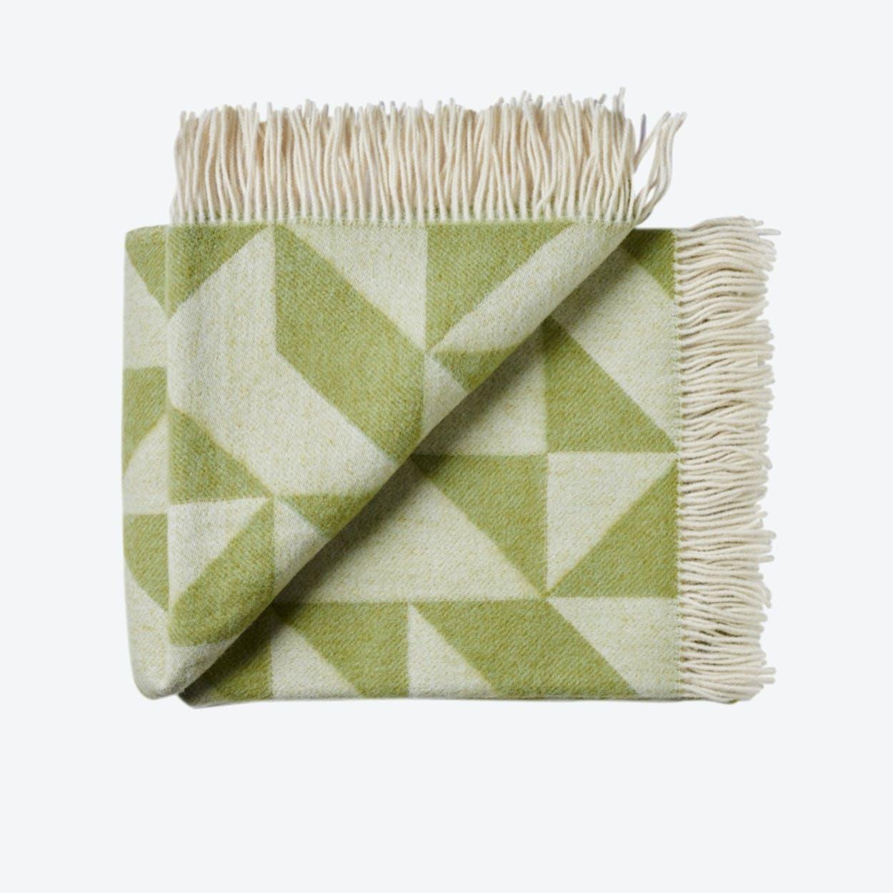 Twist A'Twill Wool Throw in Light-Green