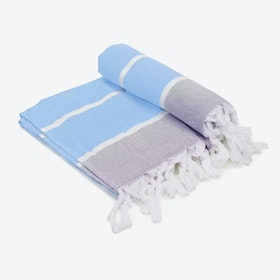 Terry Baby Blue Beach Towel in Baby-Blue