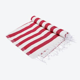 Hello Sailor Beach Towel in Red Stripes