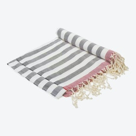 Happily Ever After Beach Towel in Red Stripes