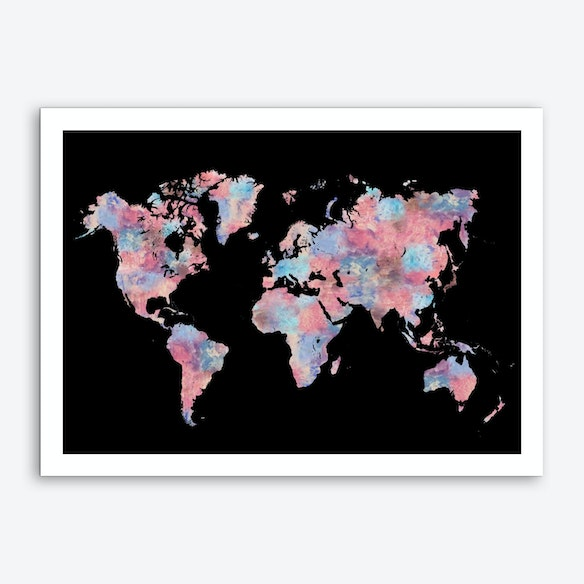 Wanderlust world map art print wanderlust world map art print by laura oconnor gumiabroncs Choice Image