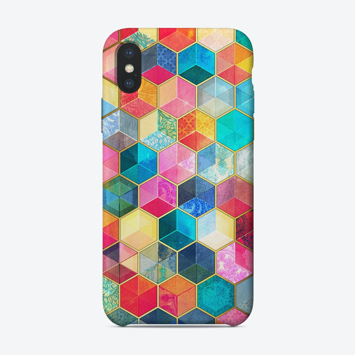 Crystal Bohemian Honeycomb Cubes - colorful hexagon pattern  iPhone Case