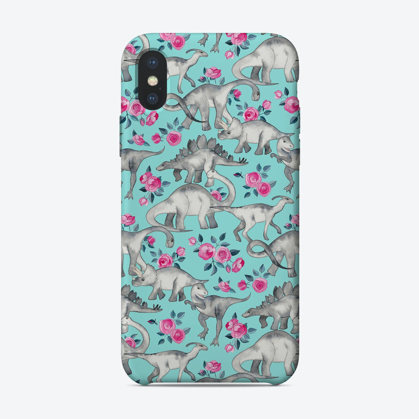 Dinosaurs and Roses - turquoise blue  iPhone Case