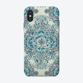 Floral Diamond Doodle in Blue and Teal  iPhone Case