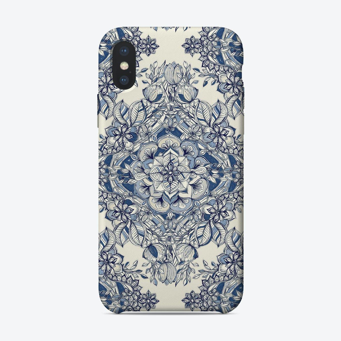 Floral Diamond Doodle in Dark Blue and Cream  iPhone Case