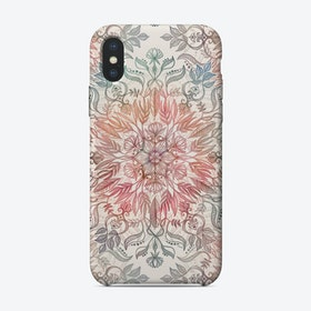 Autumn Spice Mandala in Coral, Cream and Rose  iPhone Case