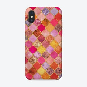 Hot Pink, Gold, Tangerine & Taupe Decorative Moroccan Tile Pattern  iPhone Case