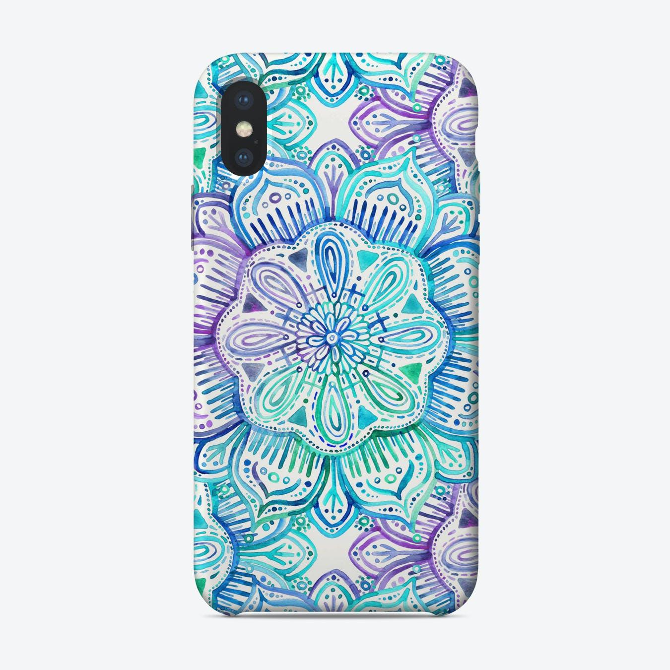 Iridescent Aqua and Purple Watercolor Mandala  iPhone Case
