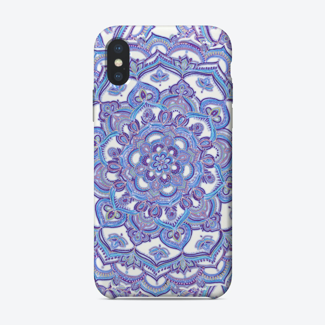 Lilac Spring Mandala - floral doodle pattern in purple & white  iPhone Case