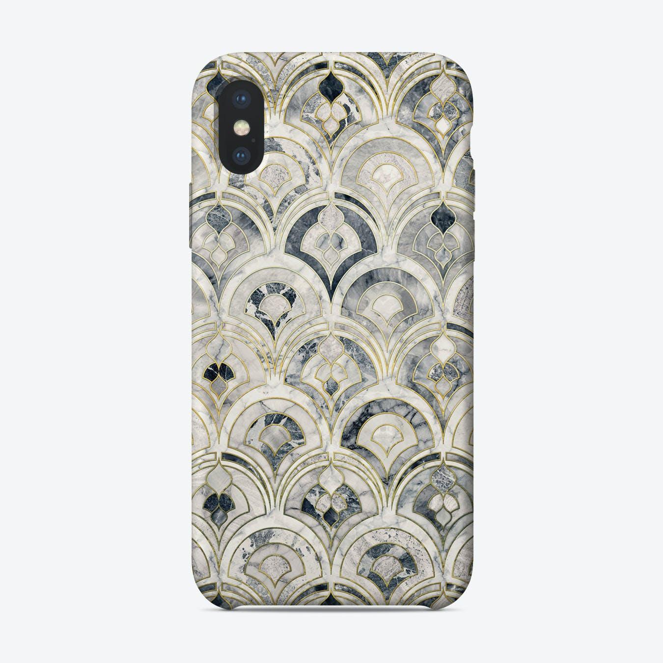 Monochrome Art Deco Marble Tiles  iPhone Case
