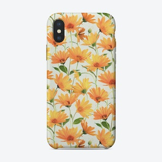 Painted Radiant Orange Daisies on off-white  iPhone Case