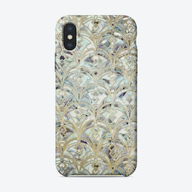 Pale Bright Mint and Sage Art Deco Marbling  iPhone Case