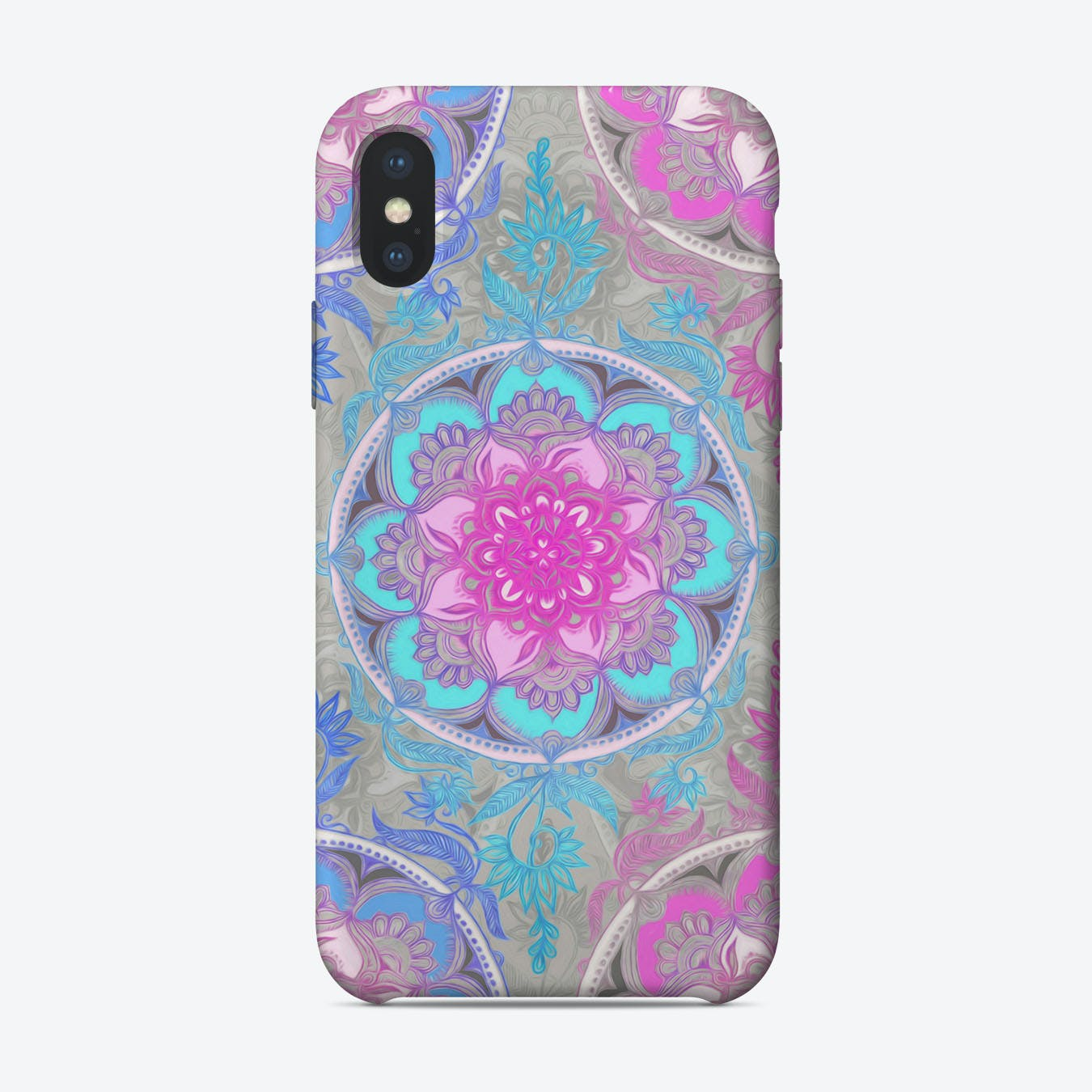 Pink, Purple and Turquoise Super Boho Doodle Medallions  iPhone Case