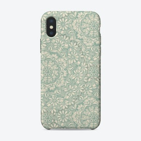 Sage Green and Cream Butterfly Medallions  iPhone Case