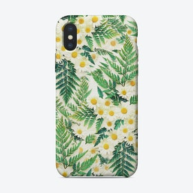 Textured Vintage Daisy and Fern Pattern  iPhone Case