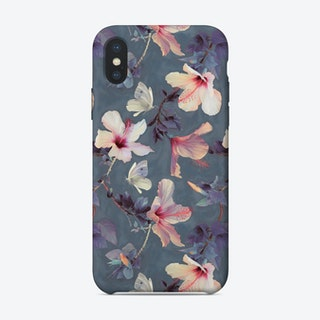 Butterflies and Hibiscus Flowers - a painted pattern  iPhone Case