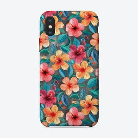 Tropical Watercolor Hibiscus Flowers  iPhone Case