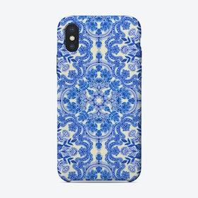 Cobalt Blue & China White Folk Art Pattern  iPhone Case