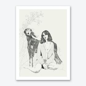 A Girl And A Dog Art Print