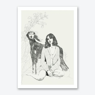 A Girl And A Dog Art Print