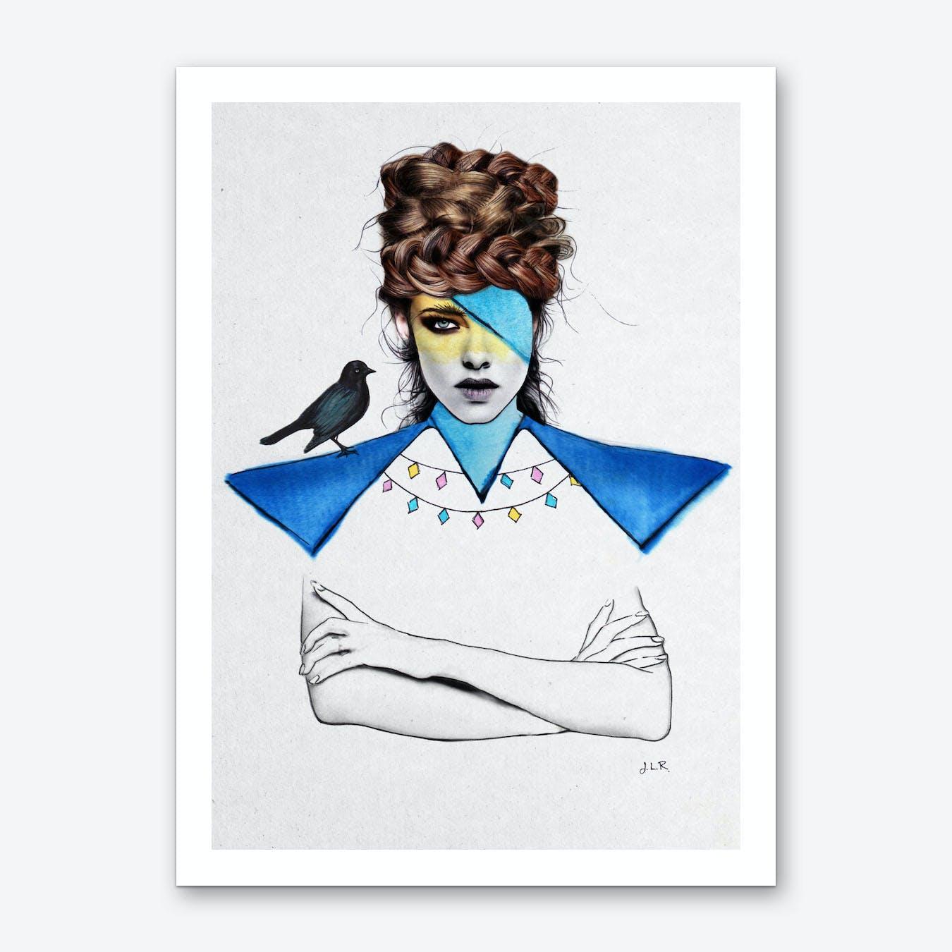Blue Girl Black Bird Art Print