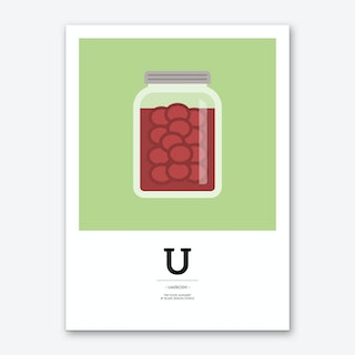 The Food Alphabet – U Art Print