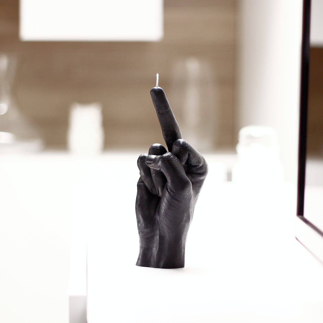 """Fcuk you"" Hand Gesture Candle in Black"