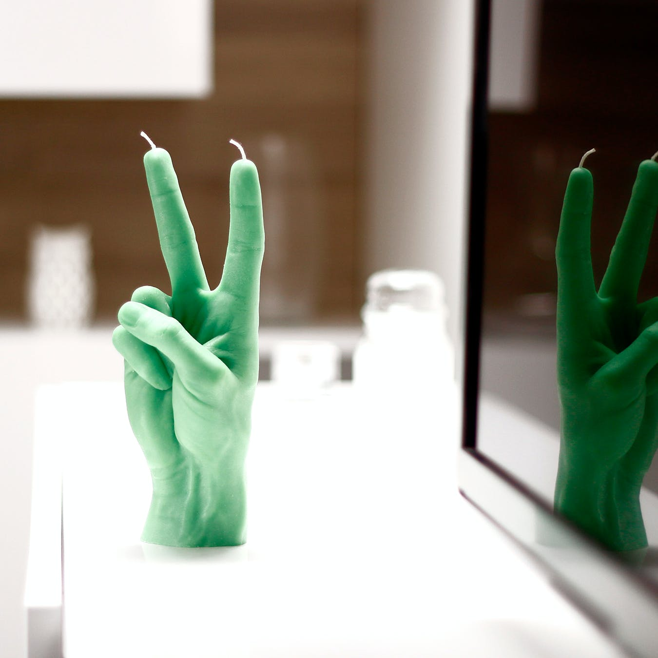 """Victory"" Hand Gesture Candle in Green"