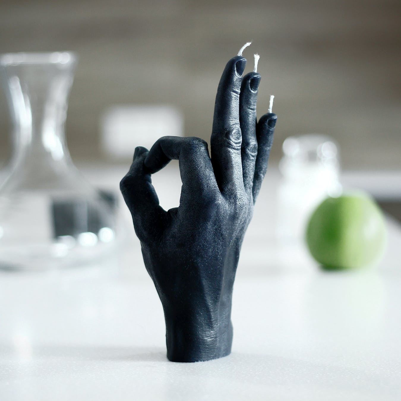"""OK"" Hand Gesture Candle in Black"