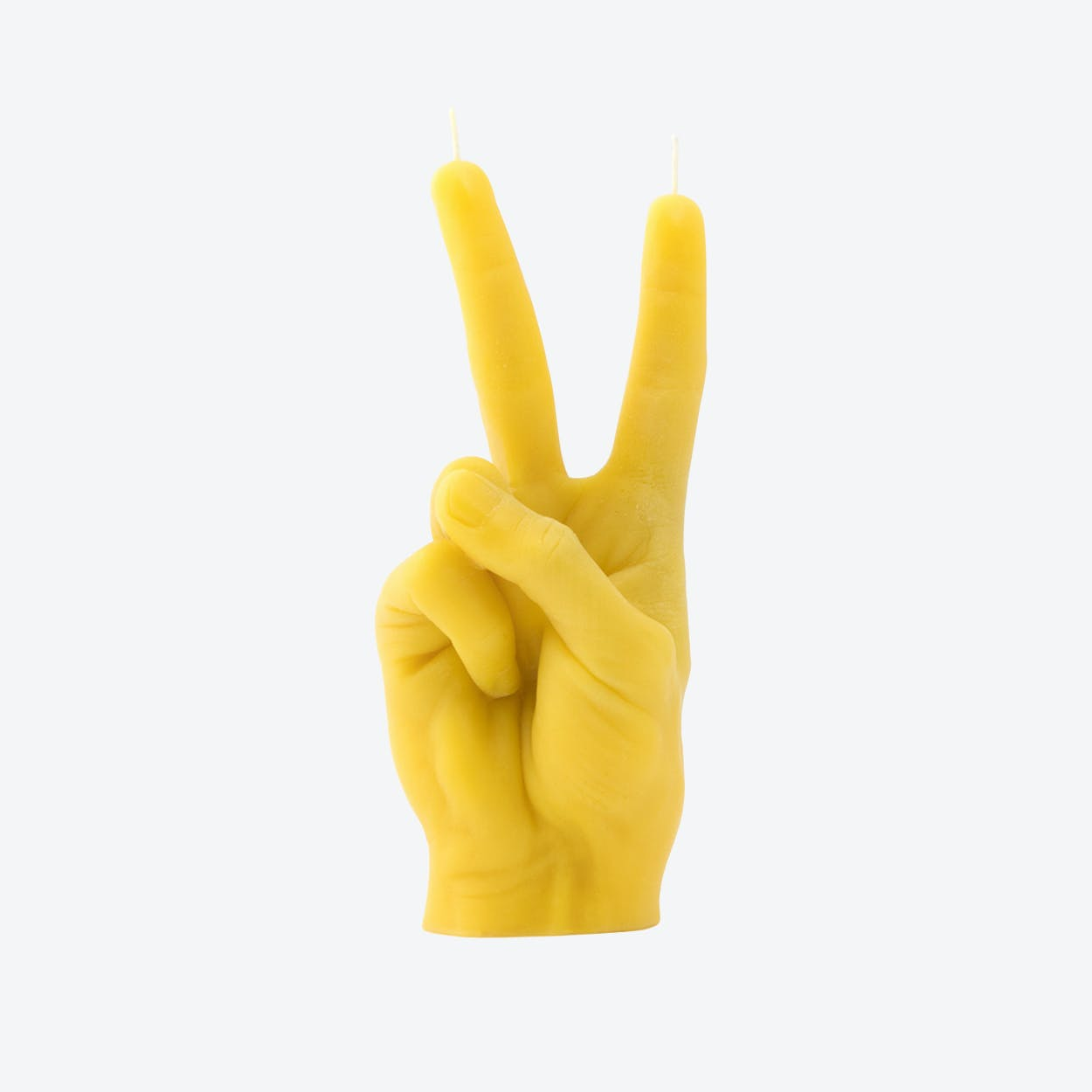 """""""Victory"""" Hand Gesture Candle in Yellow"""