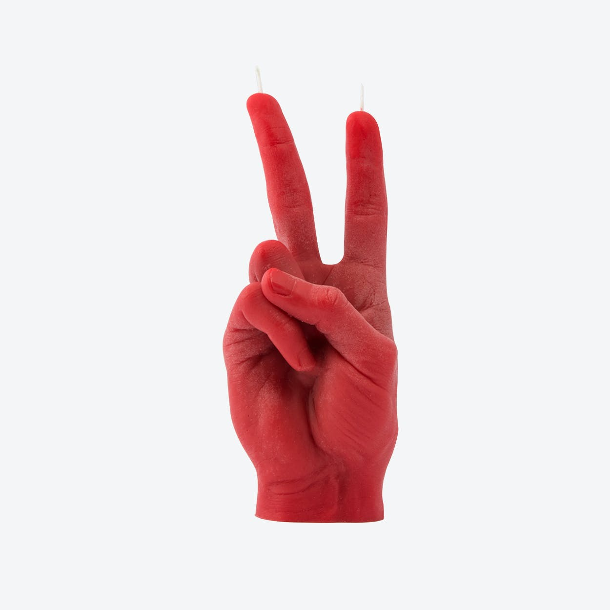 """""""Victory"""" Hand Gesture Candle in Red"""