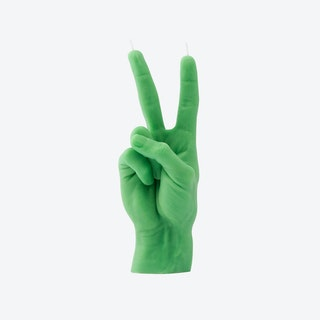 """""""Victory"""" Hand Gesture Candle in Green"""