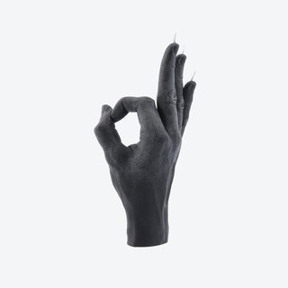 """""""OK"""" Hand Gesture Candle in Black"""