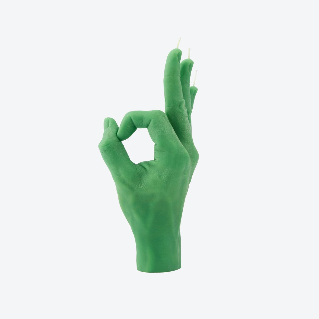 """OK"" Hand Gesture Candle in Green"
