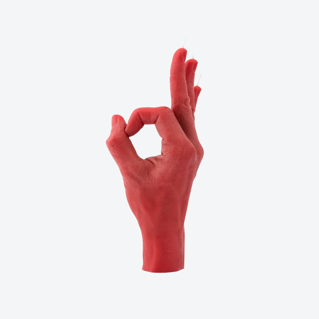 """OK"" Hand Gesture Candle in Red"