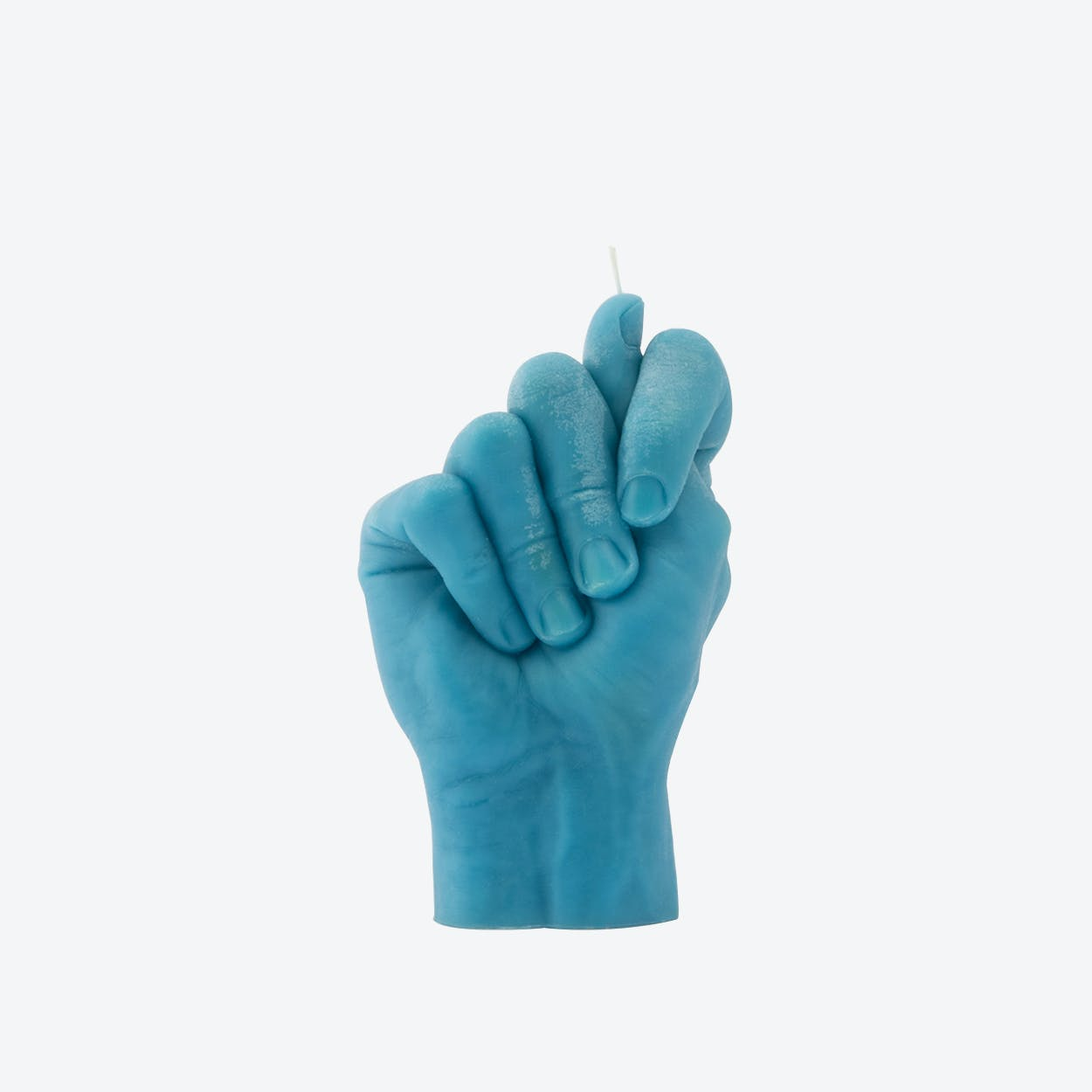 """Fig Hand"" Hand Gesture Candle in Blue"