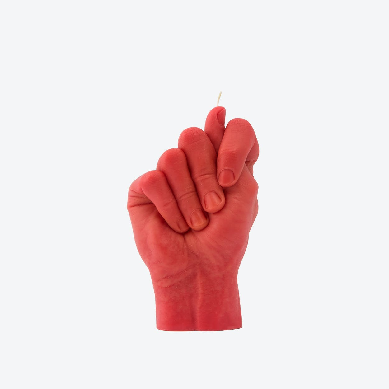 """""""Fig Hand"""" Hand Gesture Candle in Red"""