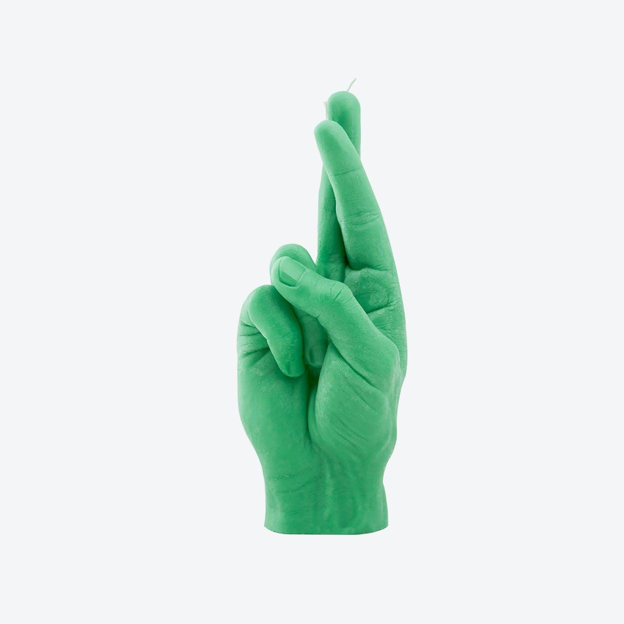 """CrossedFingers"" Hand Gesture Candle in Green"