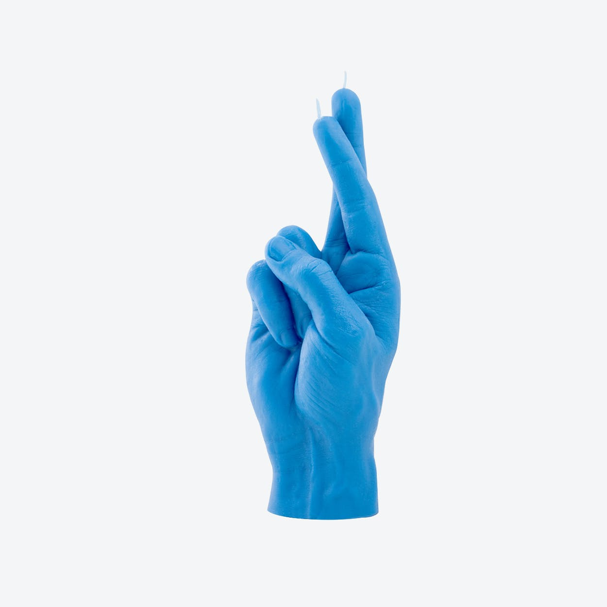 """CrossedFingers"" Hand Gesture Candle in Blue"