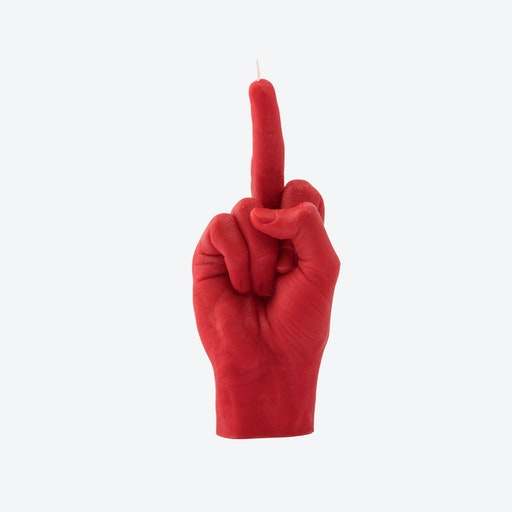 """""""Fcuk you"""" Hand Gesture Candle in Red"""