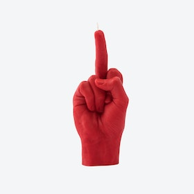 """Fcuk you"" Hand Gesture Candle in Red"